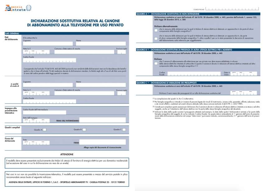 Modulo esenzione dichiarazione sostitutiva abbonamento alla TV Canone Rai